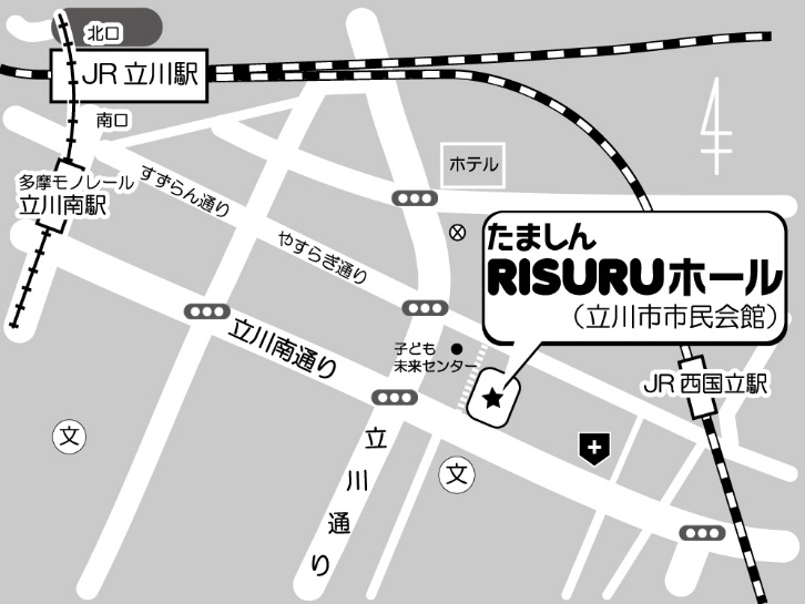 たましんRISURUホールへの地図